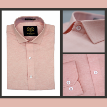 Light Pink Chambray Cotton Slim Fit Formal Shirt For Men