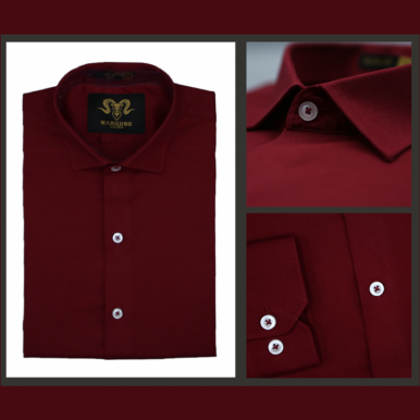 Magnetic Maroon Chambray Cotton Slim Fit Formal Shirt For Men