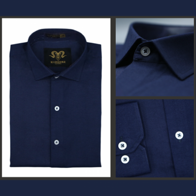 Navy Blue Chambray Cotton Slim Fit Formal Shirt For Men