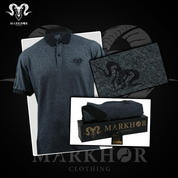 Royal Black Embroidered Charcoal Color Summer Polo Shirt For Men