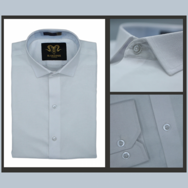 Royal White Chambray Cotton Slim Fit Formal Shirt For Men