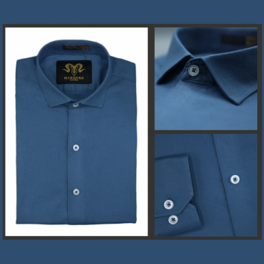 Solid Blue Chambray Cotton Slim Fit Formal Shirt For Men