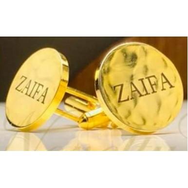 Customized Round Shaped Name Engraving Cufflinks