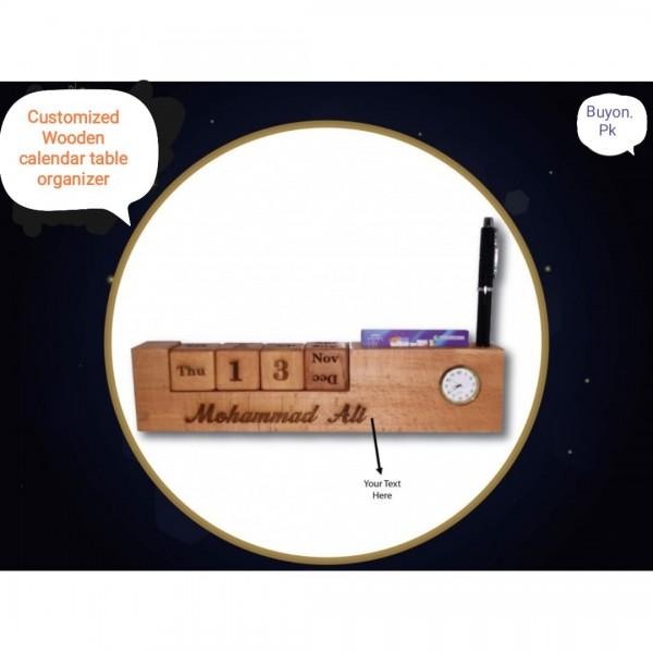 Customized Wooden Calendar Table Organizer