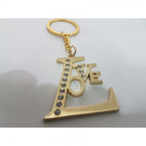 Love keychain in Gold color