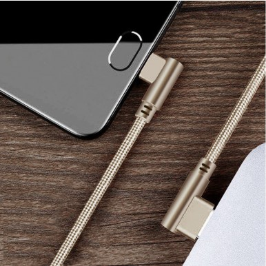 1 Meter Micro USB 3.0 Fast Charging Cable Data Cable (Braided - L Shape - 90 Degree Dual Bend - For Gaming And Use While Charging Comfortable Cable) Dark Brown