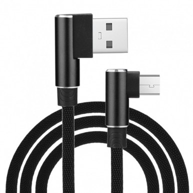 1 Meter Micro USB 3.0 Fast Charging Data Cable (Braided - L Shape - 90 Degree Dual Bend - For Gaming And Use While Charging Comfortable Cable) - Black color