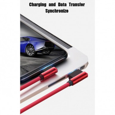 1 Meter Type C USB 3.0 Fast Charging Data Cable (Braided - L Shape - 90 Degree Dual Bend - For Gaming And Use While Charging Comfortable Cable) in Black Color