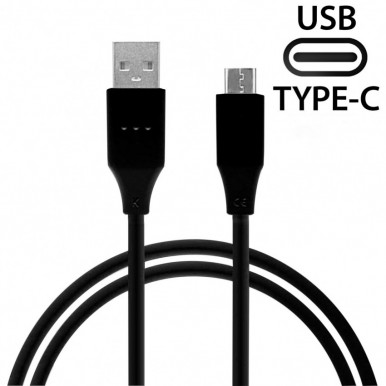 1 Meter USB Type C Fast Charging Cable + Data Cable For Samsung / Mi / HTC / Huawei / Xiaomi  /Lenovo - Black
