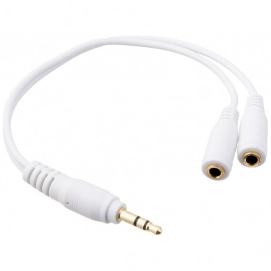 Earphone/Headphone 3.5mm Audio Splitter/Divider - White