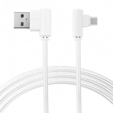 1 Meter Micro USB 3.0 Fast Charging Cable Data Cable (Braided - L Shape - 90 Degree Dual Bend - For Gaming And Use While Charging Comfortable Cable) All Brands - White