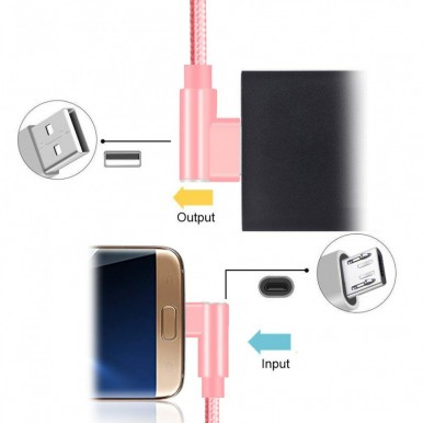 1 Meter Micro USB 3.0 Fast Charging Data Cable  L Shape  All Brands - Pink