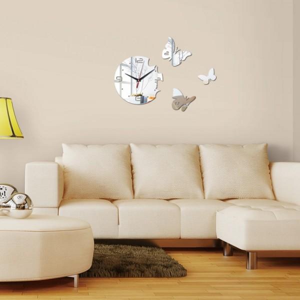 3 Butterfly Quartz wall clock in Silver