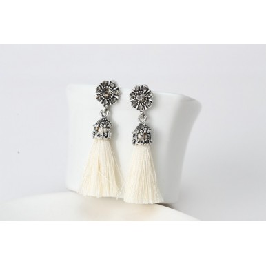 Rhinestone Crystal Alloy Flower Tassel Earrings