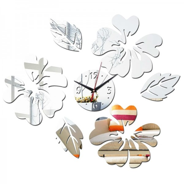 3D Mirror Flower Design Acrylic Material Real Wall Clocks