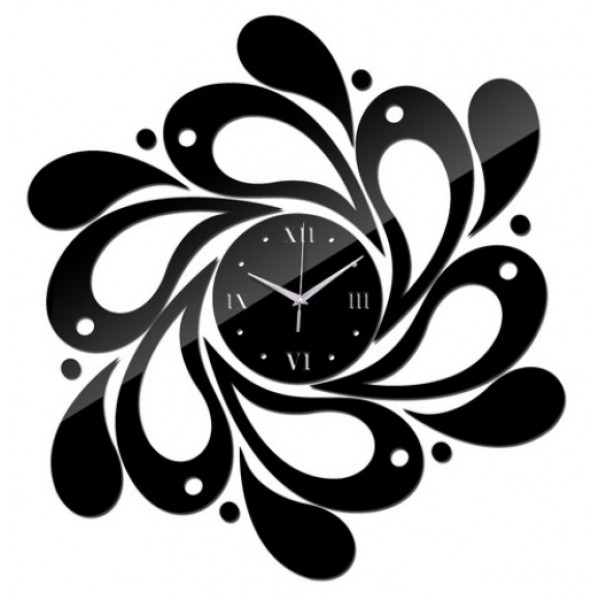 3D DIY Black Wall Clock Mirror Acrylic Home Decoration