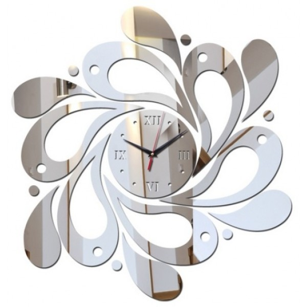 3D DIY Wall Clock Mirror Acrylic Silver for Home Decoration
