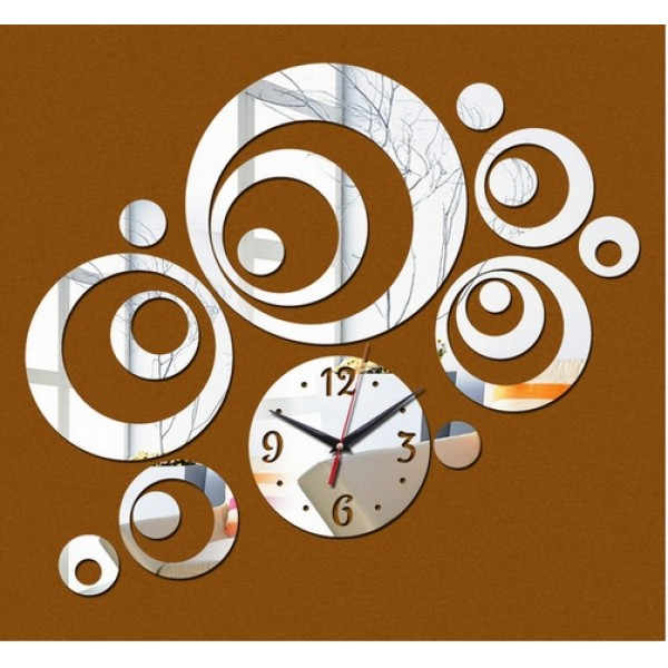 Circular Collage Decorative 3D Mirror Wall Clock