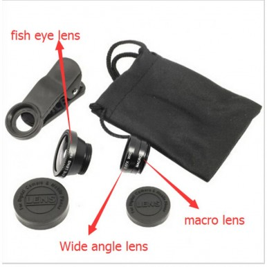 3 in 1 Camera Lens Clip Fish Eye - Macro - Wide Angle