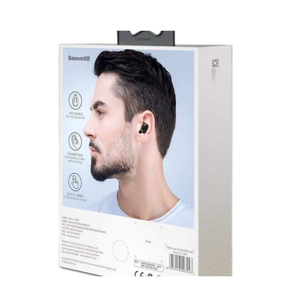 Baseus A03 Business Bluetooth Earphone Mini Portable Single TWS Wireless Earphone With Mic For xiaomi iPhone Car Driving - NGA03 white