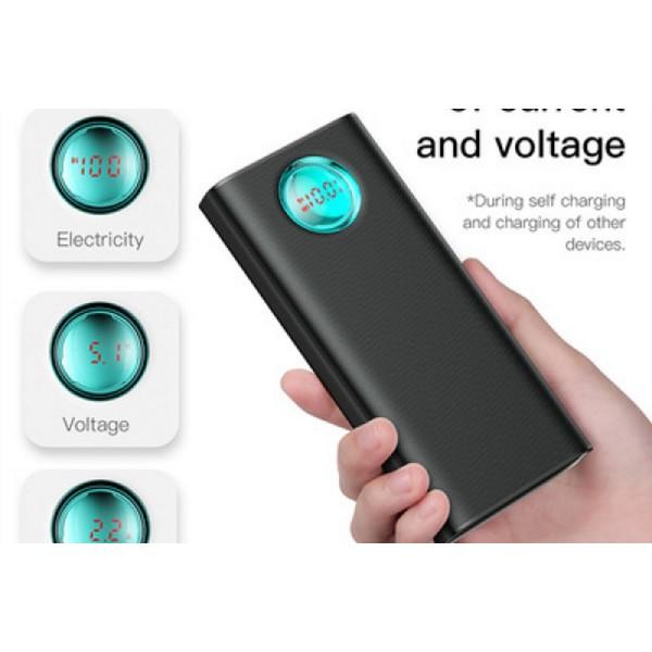 Baseus Amblight 20000mAh Quick Charger Digital Display 18W PD3.0 plus QC3.0 Type-C Power Bank - PPALL-LG01 - black