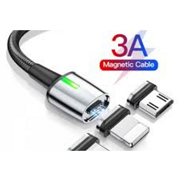Baseus CATXC-A01 Zinc Magnetic Cable USB For Type-C 3A 1m – Black 3 in 1 kit