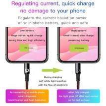 Baseus Lightning C-shaped Light indicatior Intelligent power-off Cable 2.4A 1m Purple (CALCD-05)