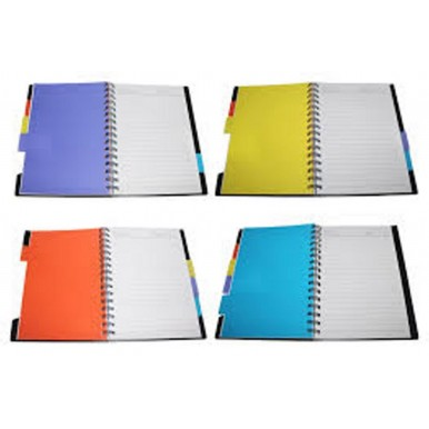Spiral note book Journal personal diary note pad with colored Index paper dividers B5 Size 105 Sheets Lined Paper