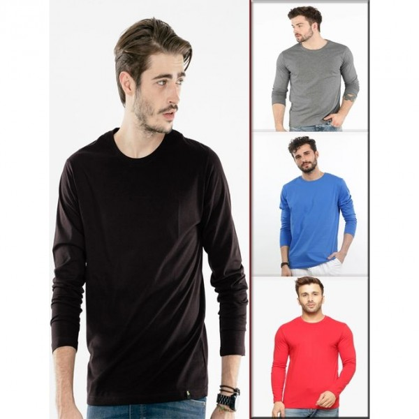 Pack Of 4 MultiColor Full Sleeves Cotton T-Shirt For Him - FREE DELIVERY