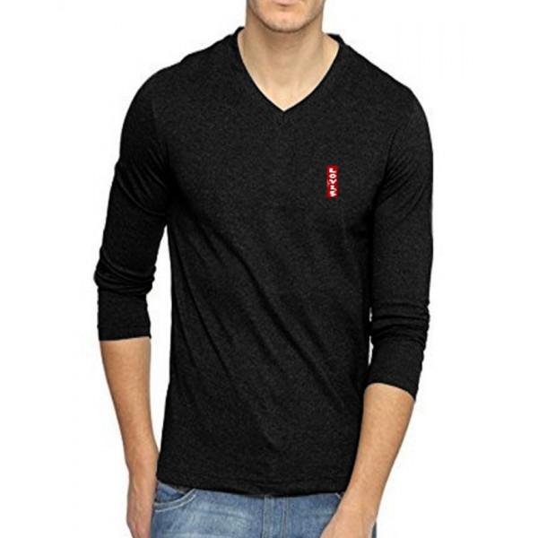 Charcoal Black Full Sleeves Cotton T-Shirt - For Men
