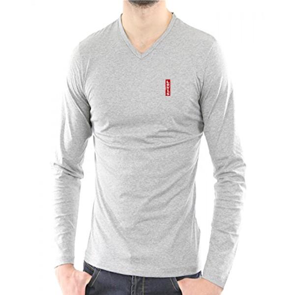 Light Grey Full Sleeves Cotton T-Shirt - For Men