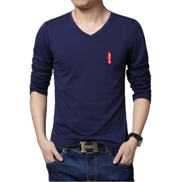 Navy Blue Full Sleeves Cotton T-Shirt - For Men