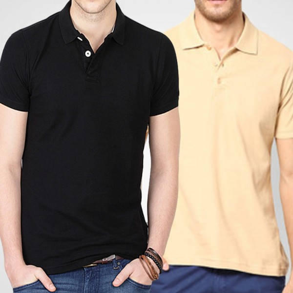 Bundle Of Beige and Black T-Shirts For Him - FREE DELIVERY