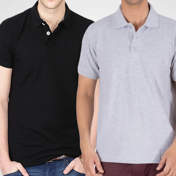 Bundle Of Black and Ash Grey Polo T-Shirt For Him