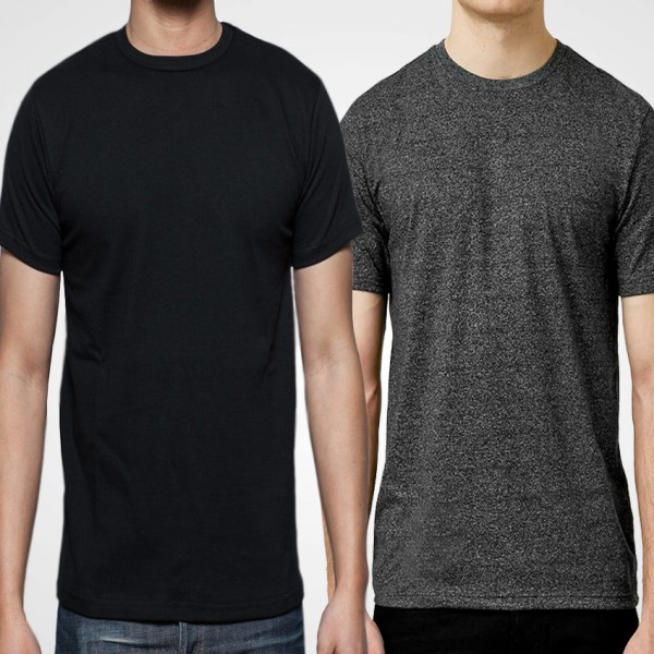 Pack Of Plain Charcoal and Black Cotton T-Shirts For Him - FREE DELIVERY