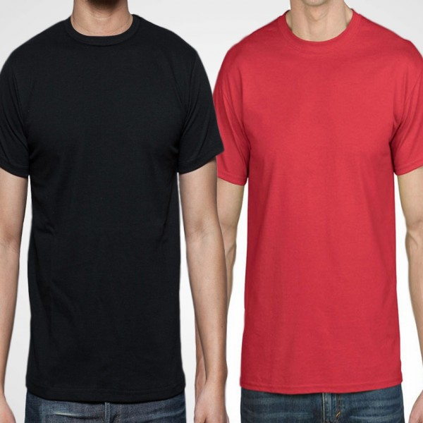 Pack Of Plain Black and Red Cotton T-Shirts For Him - FREE DELIVERY