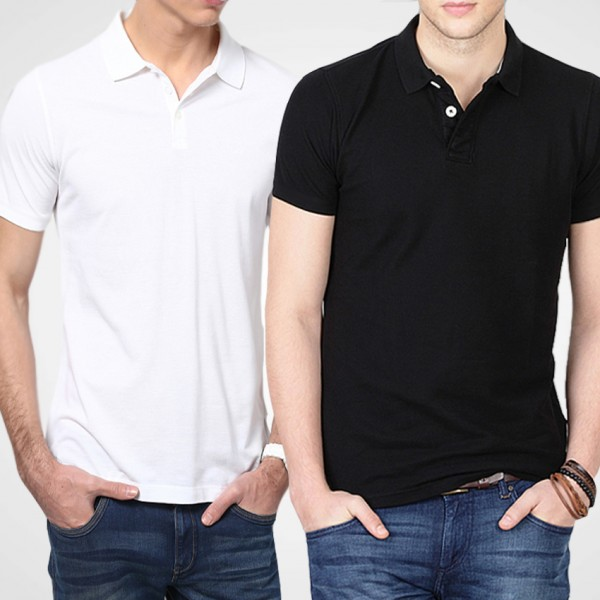 Bundle Of Black and White Polo T-Shirts For Him