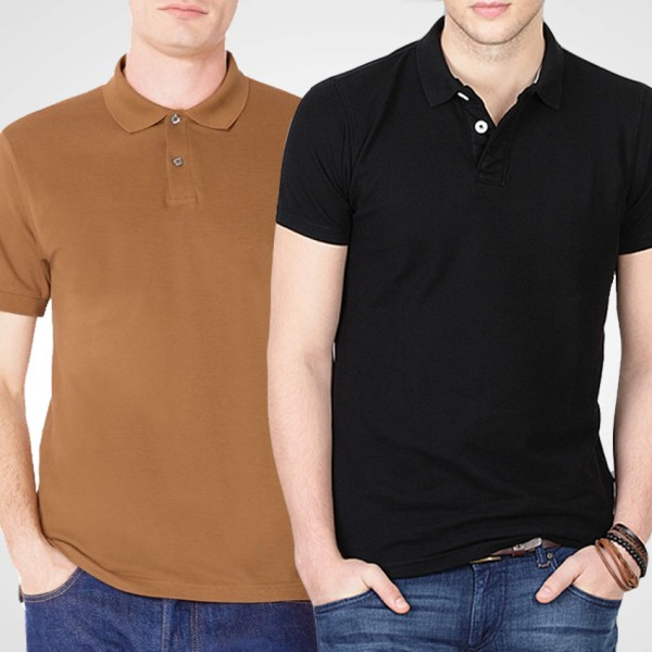 Bundle Of Copper Brown and Black Polo T-Shirts For Him