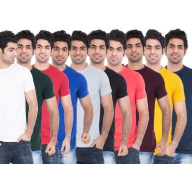 Pack of 10 Multi-Color Plain T-Shirts for Men - FREE DELIVERY