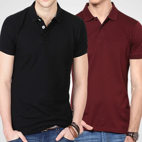 Bundle of Black and Maroon Polo T-shirts For Him