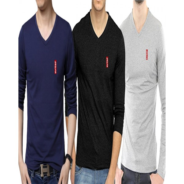 Pack Of Three Full Sleeves Cotton T-Shirts - For Men