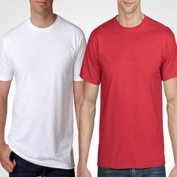 Pack Of Plain White and Red Cotton T-Shrits For Him - FREE DELIVERY