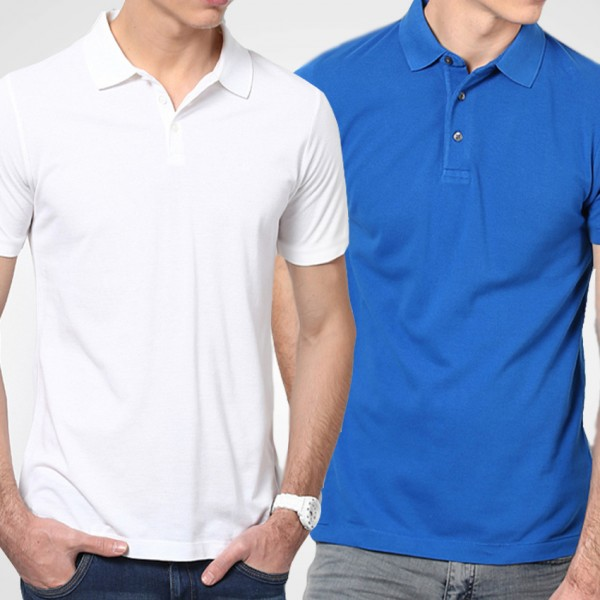 Bundle Of Royal Blue and White Polo T-Shirts For Him