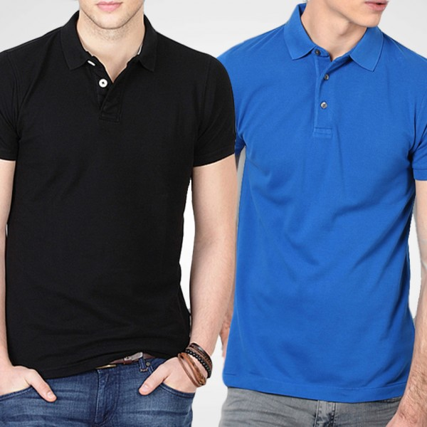 Bundle Of Royal Blue and Black Polo T-Shirts For Him - FREE DELIVERY