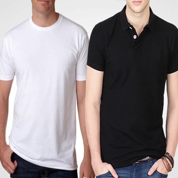 Pack of Black Polo and Plain white T-Shirt For Him - FREE DELIVERY