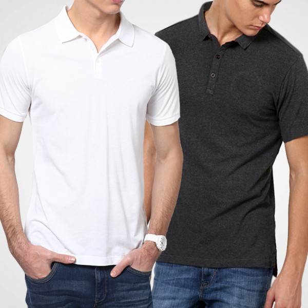 Bundle Of White and Charcoal Polo T-Shiirts For Him