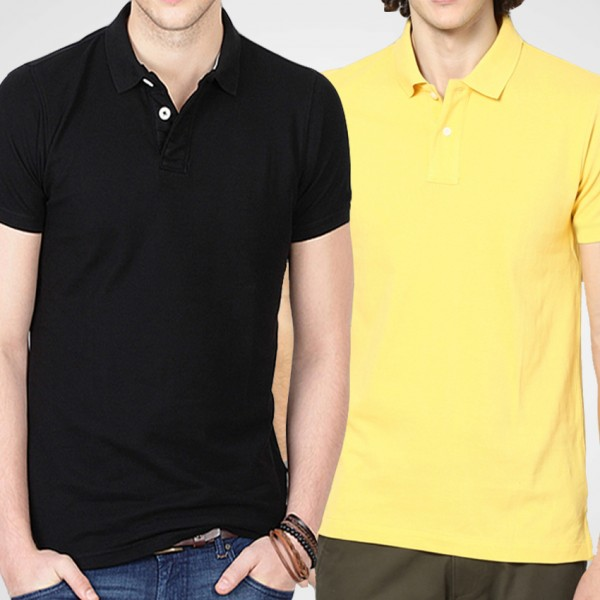Bundle Of Yellow and Black Polo T-Shirts For Him