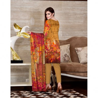 Moon Classic Linen 3 Piece Printed Suit With Printed Dupatta
