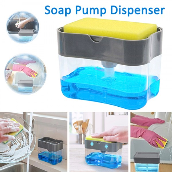 2-in-1 Pump Soap Dispenser and Sponge Caddy For Dish