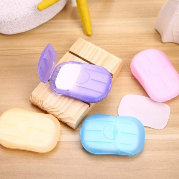 Pack of 3 - Travel Soap Paper Washing Hand Bath Clean Scented Slice Sheets 20pcs 1 Disposable Box Soap Portable Mini Paper Soap